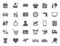 Symboler online-lager, produktkategorier, monokrom, vit bakgrund Royaltyfria Bilder