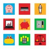 Symboler på affär och finans royaltyfri illustrationer