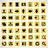 49 symboler på en gul bakgrund Royaltyfri Foto