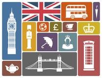 Symboler på ett tema av England stock illustrationer
