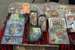 Symboler på wood2 royaltyfri bild