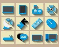 Symboler returnerar tech och radiouppsättningen Arkivbilder