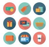 symboler sälja i minut shopping Arkivbild