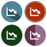 Symboler sänker diagrammet Fotografering för Bildbyråer