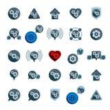 Symboler s för tema för utveckling och för framsteg för kugghjulsystemmakt ovanliga Arkivfoton