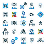 Symboler s för tema för utveckling och för framsteg för kugghjulsystemmakt ovanliga Arkivbild