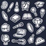 symboler school seten royaltyfri illustrationer
