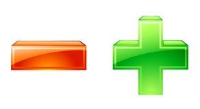 symboler som är minus plus Arkivbilder