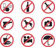 Symboler som förbjudas uppsättningen Royaltyfria Foton