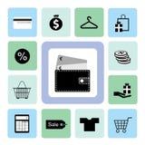 Symboler som shoppar uppsättningen Royaltyfri Bild