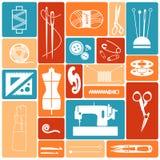 Symboler som syr material Fotografering för Bildbyråer