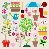 Symboler ställde in att arbeta i trädgården för beståndsdelar Royaltyfri Bild