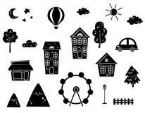 Symboler ställde in av hus, bilar, berg, träd, solen och månen stock illustrationer
