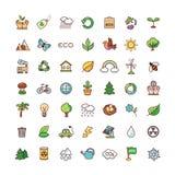 Symboler ställde in ekologi stock illustrationer