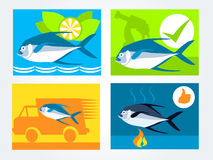 Symboler ställde in för försäljningen för leveransen för den nya fisken för websiten Royaltyfri Bild