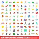 100 symboler ställde runt om världen in, tecknad filmstil Royaltyfri Bild