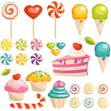 symboler ställde in sötsaker stock illustrationer