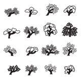 symboler ställde in treen Royaltyfri Bild