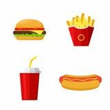 Symboler ställde in snabbmat Hamburgare varmkorv, pommes frites, sodavatten Arkivfoton