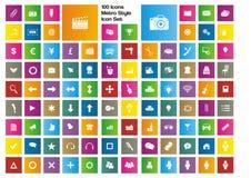 100 symboler - uppsättning för tunnelbanastilsymbol Royaltyfria Bilder