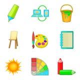 Symboler uppsättning, tecknad filmstil för färgintrig royaltyfri illustrationer
