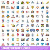 100 symboler uppsättning, tecknad filmstil för grupparbete stock illustrationer