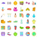 Symboler uppsättning, tecknad filmstil för konditionmitt Royaltyfri Bild