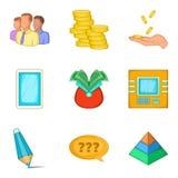 Symboler uppsättning, tecknad filmstil för kontant bidrag vektor illustrationer
