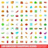 100 symboler uppsättning, tecknad filmstil för livsmedelsbutikshopping Royaltyfria Foton