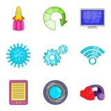 Symboler uppsättning, tecknad filmstil för sladdlös telefon royaltyfri illustrationer