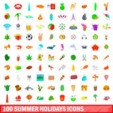 100 symboler uppsättning, tecknad filmstil för sommarferier Arkivfoto