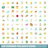 100 symboler uppsättning, tecknad filmstil för sommarferier Royaltyfria Bilder
