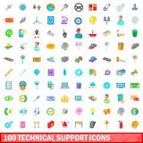 100 symboler uppsättning, tecknad filmstil för teknisk service stock illustrationer