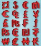 Symbolerna av valuta Royaltyfria Bilder