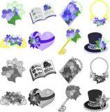 Symbolerna av violeten royaltyfri illustrationer
