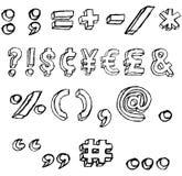 Symboles 3D grunges en noir et blanc Illustration Stock