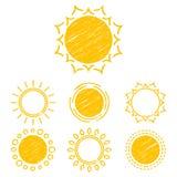 Symboles abstraits du soleil Images libres de droits