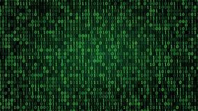 Symboles binaires numériques verts illustration stock