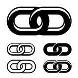 Symboles blancs noirs ensemble à chaînes Photographie stock