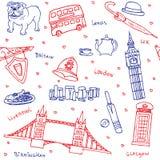 Symboles britanniques et modèle sans couture d'icônes Photo stock