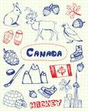 Symboles canadiens Pen Drawn Doodles Vectors Set Photographie stock