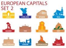 Symboles capitaux européens illustration libre de droits