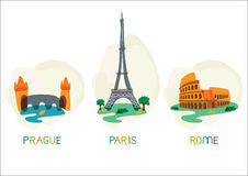 Symboles capitaux européens Image stock