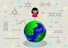 Symboles chimiques et fille sur terre de planète bande dessinée, dame Photos stock