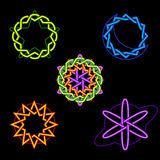 Symboles célestes au néon Images libres de droits
