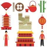 Symboles culturels nationaux de la Chine Sushi, fan de main, lanterne, architecture chinoise, Grande Muraille, bambou vert, théiè Image libre de droits