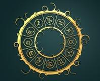 Symboles d'astrologie en cercle d'or Photos stock
