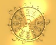 Symboles d'astrologie en cercle d'or Le signe de lion Photos libres de droits