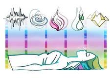Symboles d'Ayurveda et cinq éléments Images libres de droits