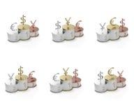 Symboles d'euro, de dollar et de Yens sur un pupitre Image stock